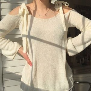 cream cold shoulder sweater